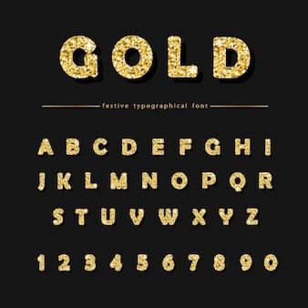 Goldene glitzerschrift