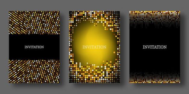 Goldene glitzertextur auf schwarzem hintergrund goldene explosion des konfettissets von einladungen