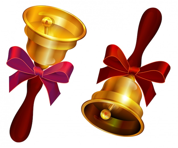 Goldene glocke mit roter schleife. urlaub letzter anruf in der schule