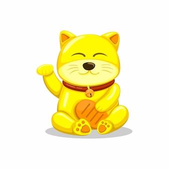 Goldene glückliche katze alias maneki neko asiatisches traditionelles glücksmaskottchenkarikaturillustrationsvektor auf weiß