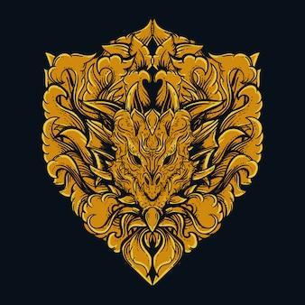 Goldene gravurverzierung des drachenkopfes
