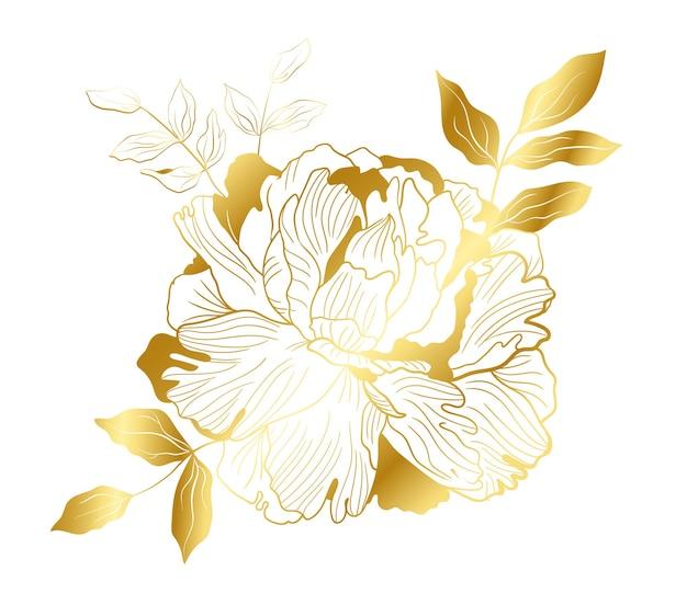 Goldene große pfingstrose im orientalischen trend