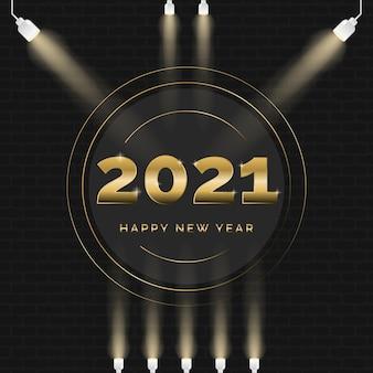 Goldene grußkarte des neuen jahres 2021
