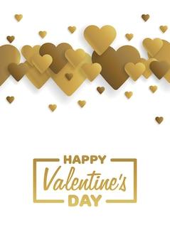 Goldene grußkarte glücklicher valentinstag. schriftzug mit herzen im hintergrund. vektor-illustration.