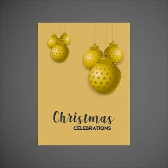 Goldene hängende kugel-frohe weihnacht-plakat-schablone