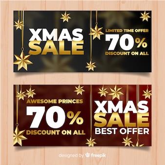 Goldene hängende sterne weihnachtsfahne