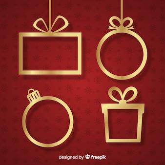 Goldene hängende weihnachtsrahmen