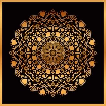 Goldene hand gezeichnete mandala mit herzen
