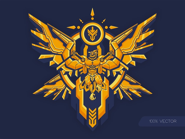 Goldene haut des alten garuda-adlers mit mechanischer körperillustration