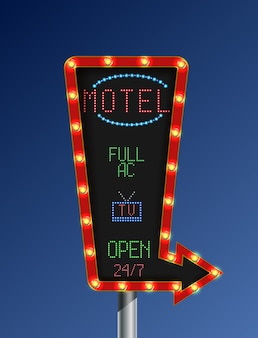 Goldene helle fahne des retro- motelzeichen-pfeiles
