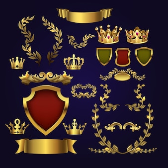 Goldene heraldische elemente. königskronen, lorbeerkranz und königliches schild für 3d-etiketten