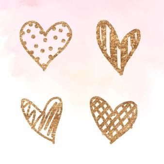 Goldene herz-sammlung zum valentinstag