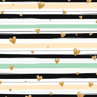 Goldene herzen und grüne stipes hintergrund