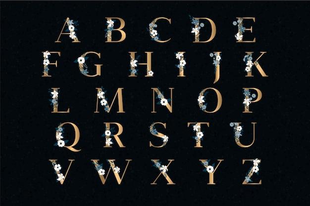 Goldene hochzeit alphabet mit eleganten blumen