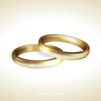 Goldene hochzeit ringe realistischen stil