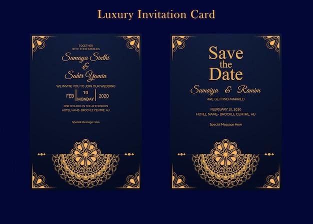 Goldene hochzeits-einladungs-karten-design-schablone mit mandalaart