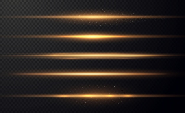 Goldene horizontale linsenfackeln packen laserstrahlen horizontale lichtstrahlen schöne lichtfackeln Premium Vektoren
