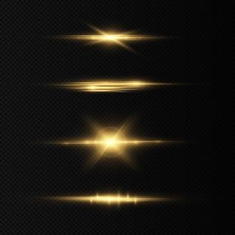 Goldene horizontale linsenfackeln packen laserstrahlen lichtreflexe leuchtende abstrakte funkelnde linien
