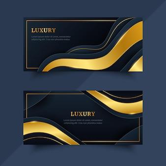 Goldene horizontale luxusfahnen mit farbverlauf
