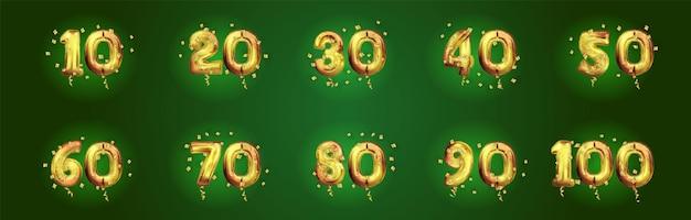 Goldene jubiläumszahlen eingestellt. festliche kompositionen und begrüßung. 10, 20, 30, 40, 50, 60, 70, 80, 90 jahre geburtstag. goldener 3d-ballon mit nummer