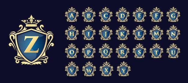 Goldene kalligraphische blumen handgezeichnete monogramm antiken vintage-stil luxus-logo-design geeignet für hotel restaurant café café spa schönheitssalon luxus boutique kosmetik und dekor geschäft