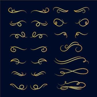 Goldene kalligraphische verzierungspackung