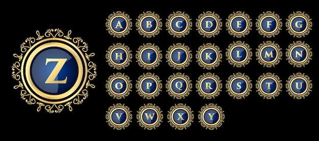 Goldene kalligraphische weibliche blumen hand gezeichnete monogramm antiken vintage-stil luxus-logo-design geeignet für hotel restaurant café café spa schönheitssalon luxus boutique kosmetik und dekor