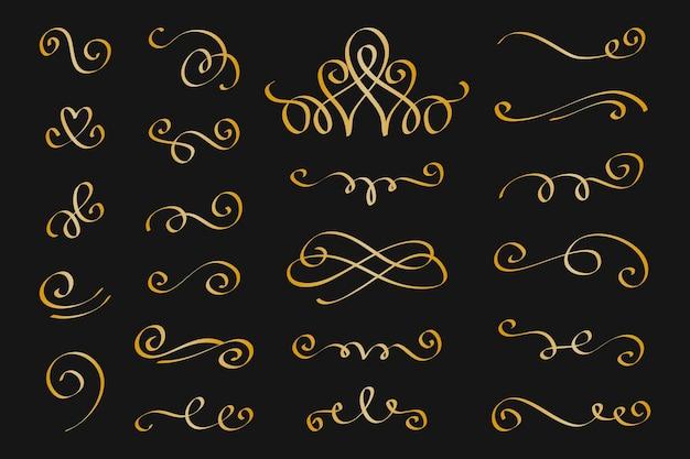 Goldene kalligraphische zierelementpackung