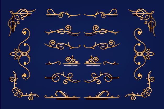 Goldene kalligraphische zierelementsammlung