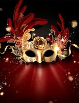 Goldene karnevalsmaske mit federn im 3d-stil