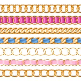 Goldene ketten mit bunter stoffbürste mit gewinde. gut für halskette, armband, schmuckzubehör.