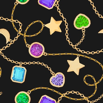 Goldene ketten und edelsteine nahtloses muster. schmuck-smaragde, gold-accessoires, edelsteine und diamanten modemuster für stofftextilien. vektor-illustration
