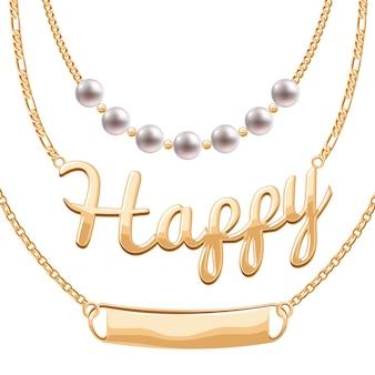 Goldene kettenhalsketten mit anhängern besetzt - perlen glückliches wort und leeres zeichen. schmuck.