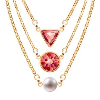 Goldene kettenhalsketten mit runden und dreieckigen rubinanhängern und perlen. schmuck.