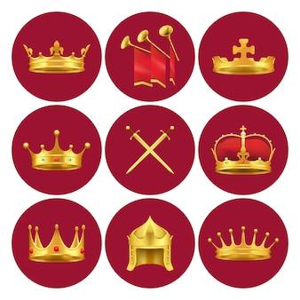 Goldene königkronen aus verschiedenen mittelalterlichen staaten, goldschwertern und kaminen mit roten stoffvektorillustrationen in den scharlachroten kreisen.