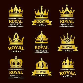 Goldene königliche qualitätsvektorkronen-logoschablonen eingestellt