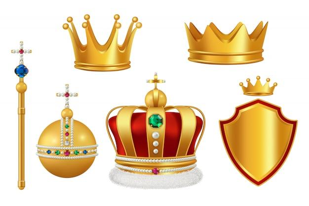 Goldene königliche symbole. krone mit juwelen für mittelalterliche realistische kopfbedeckung der antiken trompete des rittermonarchen