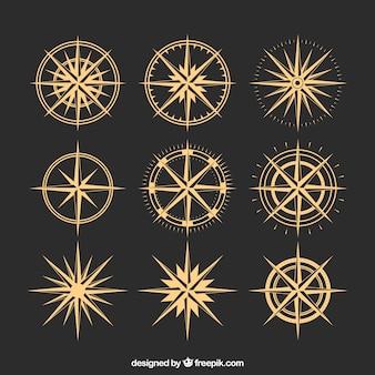 Goldene kompasspackung