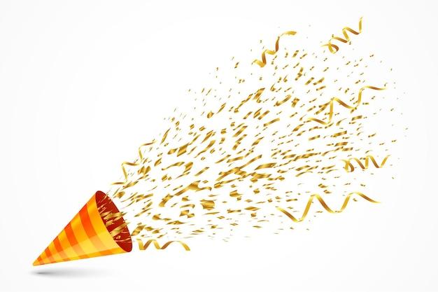 Goldene konfettiexplosion vom geburtstagskappenhintergrund