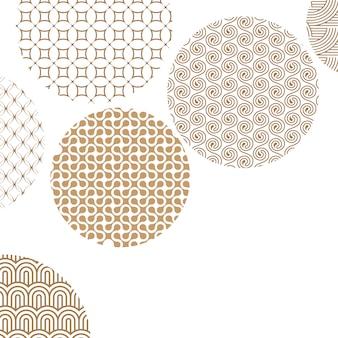 Goldene kreise mit verschiedenen geometrischen mustern auf weiß mit ausschnittsmaske