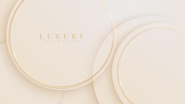 Goldene kreislinien luxus funkelnd auf cremefarbenem pastellfarbenhintergrund, illustration vom vektor über modernes vorlagendesign, das sich kostbar und teuer anfühlt.
