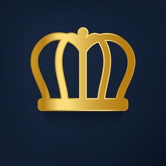 Goldene krone auf blauem hintergrundvektor
