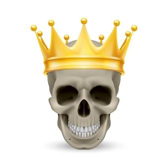 Goldene krone auf dem schädel
