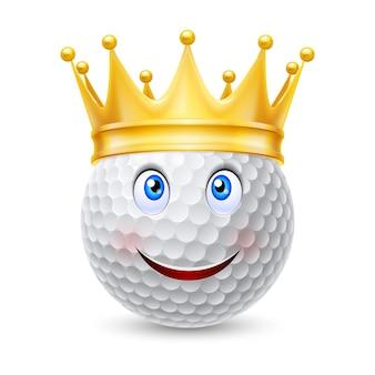 Goldene krone auf golfball