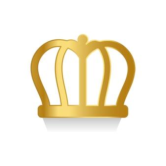 Goldene krone auf weißem hintergrund