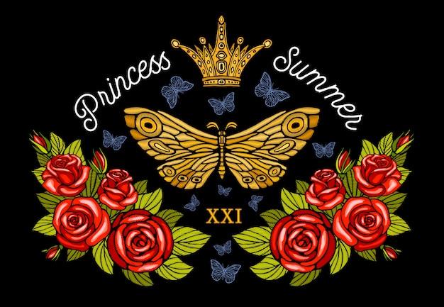 Goldene krone, goldene schmetterlingsstickerei, rosen im vintage-stil, fluginsektenschmetterlinge, strukturierte flügel, streifen. prinzessin sommer schriftzug, modedesign. hand gezeichnete illustration.