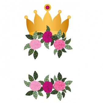 Goldene krone mit rosen lokalisierte ikone