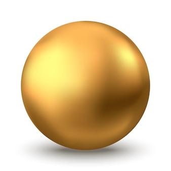 Goldene kugel. ölblase isoliert auf weißem hintergrund. goldene glänzende 3d-kugel oder kostbare perle. gelbe serum- oder kollagentropfen. vektordekorationselement für kosmetisches paket der hautpflege.