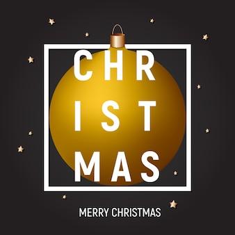 Goldene kugel weihnachtsgrußkarte, plakat, abdeckung