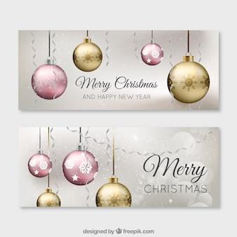 Goldene kugeln weihnachten banner